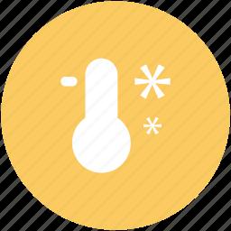 celsius, degrees, fahrenheit, low temperature, snow, thermometer, zero temperature icon