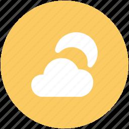 cloud, moon, night, night moon, night weather, weather icon