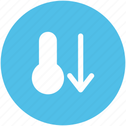 cold, down arrow, hot, low temperature, temperature, thermometer icon
