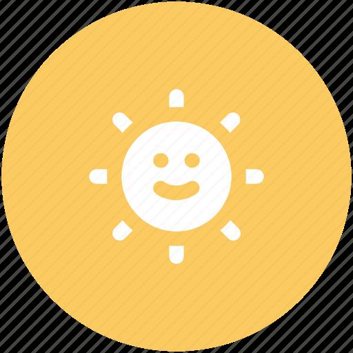 shining sun, summer, sun beams, sun face, sunlight, sunny, sunrays, sunshine icon