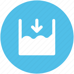 down arrow, less water, ocean height, river, sea level, seawater, seawater height icon