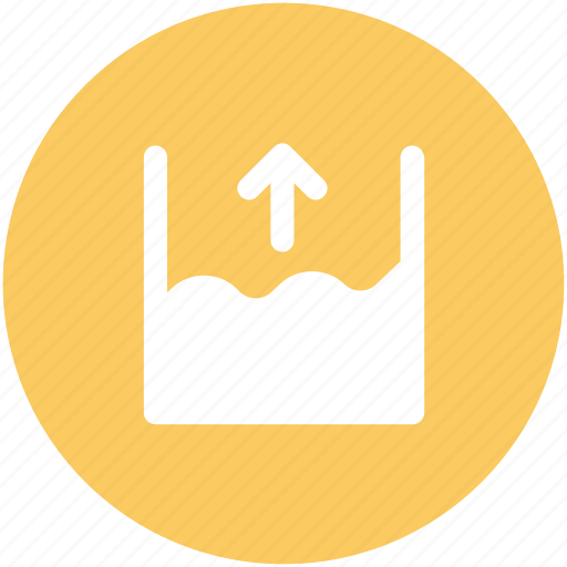 flood height, ocean height, river, sea level, seawater, up arrow, water height icon