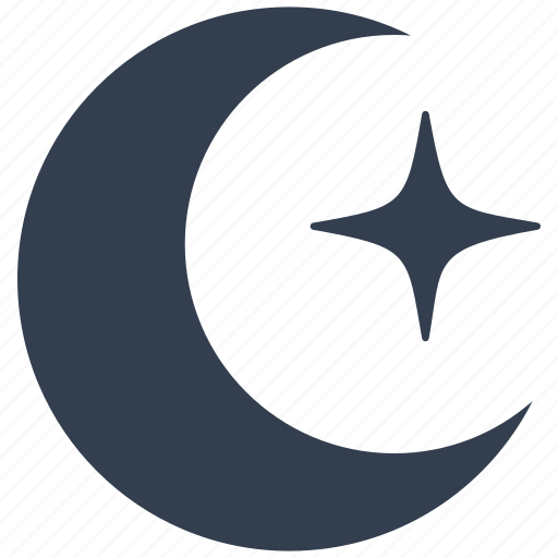 clear, forecast, meteorology, moon, night, star, weather icon