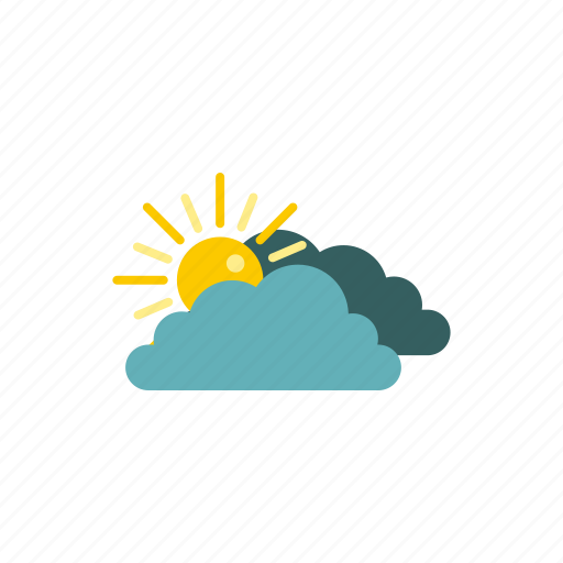 behind, clouds, nature, shine, sun, sunny, weather icon