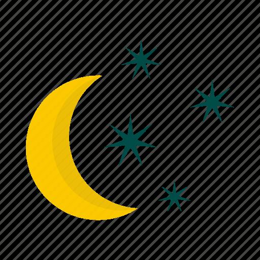 crescent, dark, light, moon, night, sky, star icon