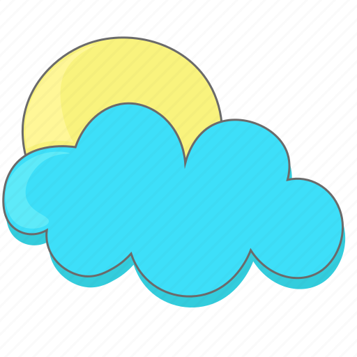 cloud, clouds, sun, weather icon icon