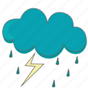 cloud, clouds, cloudy, lightning, rain, storm, weather icon icon