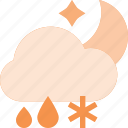 cloud, forcast, night, rain, snow, weather icon