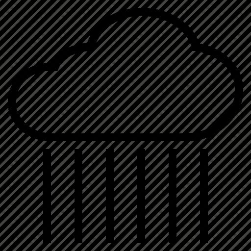 cloud, downpour, heavily, rain, raindrop, rainfall, wet icon