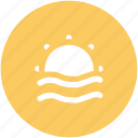beach, ocean waves, sea, sunrise, sunshine icon