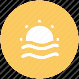 beach, ocean waves, sea, sunrise, sunshine icon