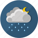 clouds, meteorology, moon, night, rainy, temperature, weather icon