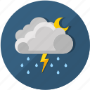 clouds, forecast, lightning, moon, nifgt, rain, thunderstorm icon