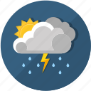 cloud, clouds, cloudy, day, forecast, lightning, meteorology, rain, rainy, season, storm, sun, sunny, temperature, thunderstorm, weather icon