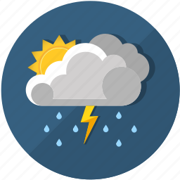 clouds, forecast, lightning, meteorology, rain, sun, thunderstorm icon