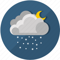 clouds, cold, frost, moon, night, snow, weather icon