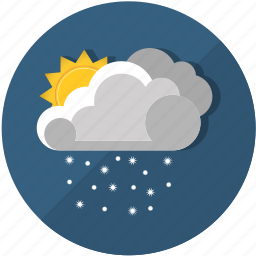 clouds, cold, frost, meteorology, snow, sun, weather icon