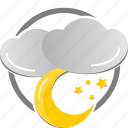 cloud, cloudy, moon, star, weather icon icon