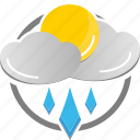 cloud, partly cloudy, rain, rainy, sun, weather icon icon