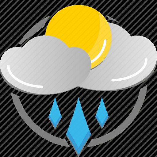 cloud, partly cloudy, rain, rainy, sun, weather icon icon