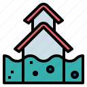 flooded, flood, water, house icon