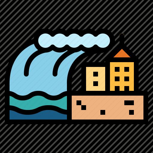 catastrophe, tsunami, waves icon