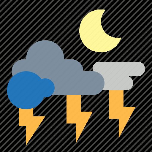 lightning, night, rainy, storm, thunder icon
