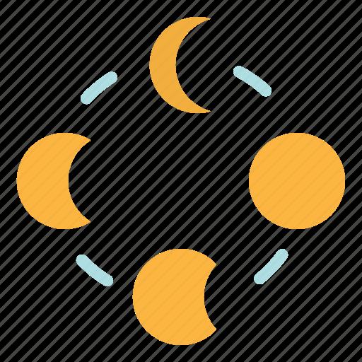 half, moon, night, stars, weather icon