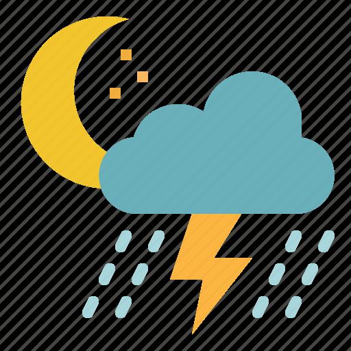 cloud, night, rain, storm, thunder icon