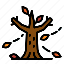 autumn, big, leaves, tree, wind icon