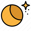 half, moon, night, stars, weather icon