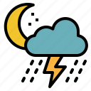 cloud, night, rain, storm, thunder icon