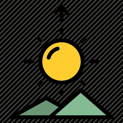morning, mountain, sun, sunrise icon