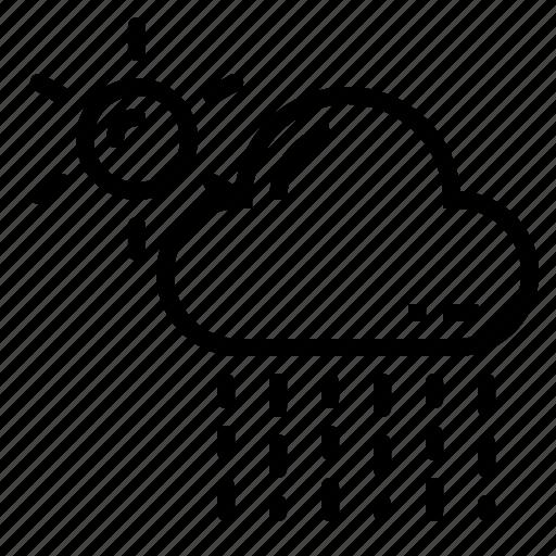 cloud, drizzle, rain, rainy, sun icon