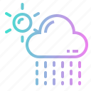 cloud, drizzle, rain, rainy, sun icon