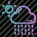 cloud, drizzle, rain, rainy, sun