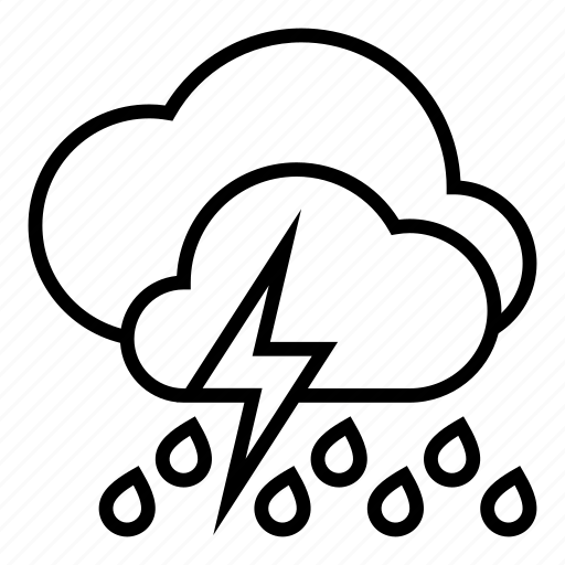 clouds, heavy rain, storm, weather icon