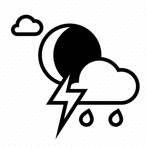 cloudy, moon, night, rain, storm, weather icon