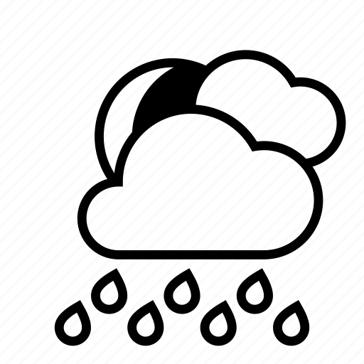 heavy rain, moon, night, rain, weather icon