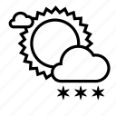 cloudy, day, snow, snowfall, sun, weather, winter icon