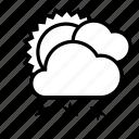 cloud, cloudy, snow, snowfall, sun, weather, winter icon