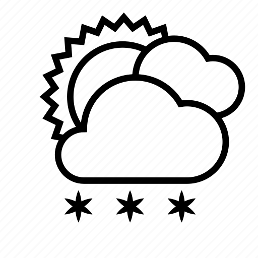 cloud, cloudy, snow, snowfall, sun, weather, winter icon