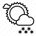 clouds, cloudy, snow, snowfall, sun, weather, winter icon