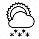 cloud, snow, snowfall, sun, weather, winter icon