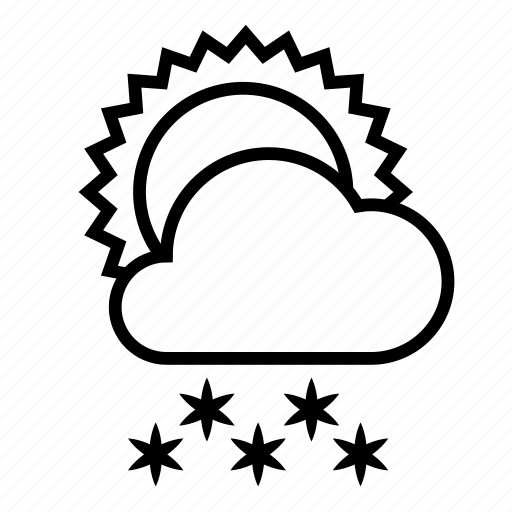 cloud, snow, snowfall, sun, weather, winter icon