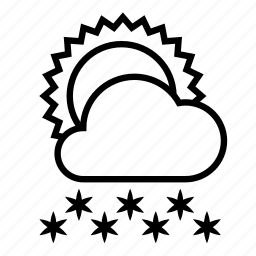 cloud, cold, snow, snowfall, sun, weather, winter icon