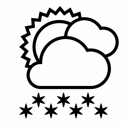 clouds, cloudy, heavy snow, snow, sun, weather, winter icon