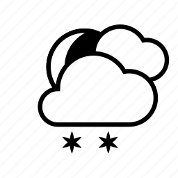 clouds, moon, night, weather, winter icon