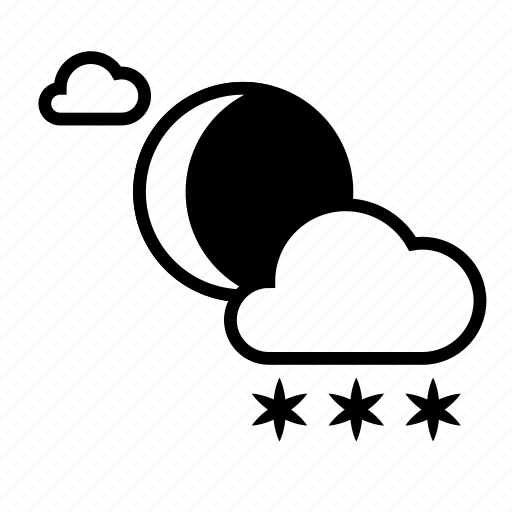 clouds, cloudy, moon, night, weather, winter icon