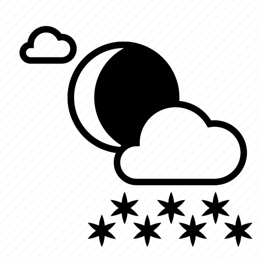 clouds, cloudy, heavy snow, moon, night, weather, winter icon